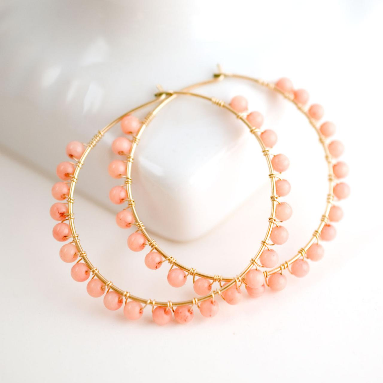 C Gold Hoop Earrings Beaded Pink Hoops Filled