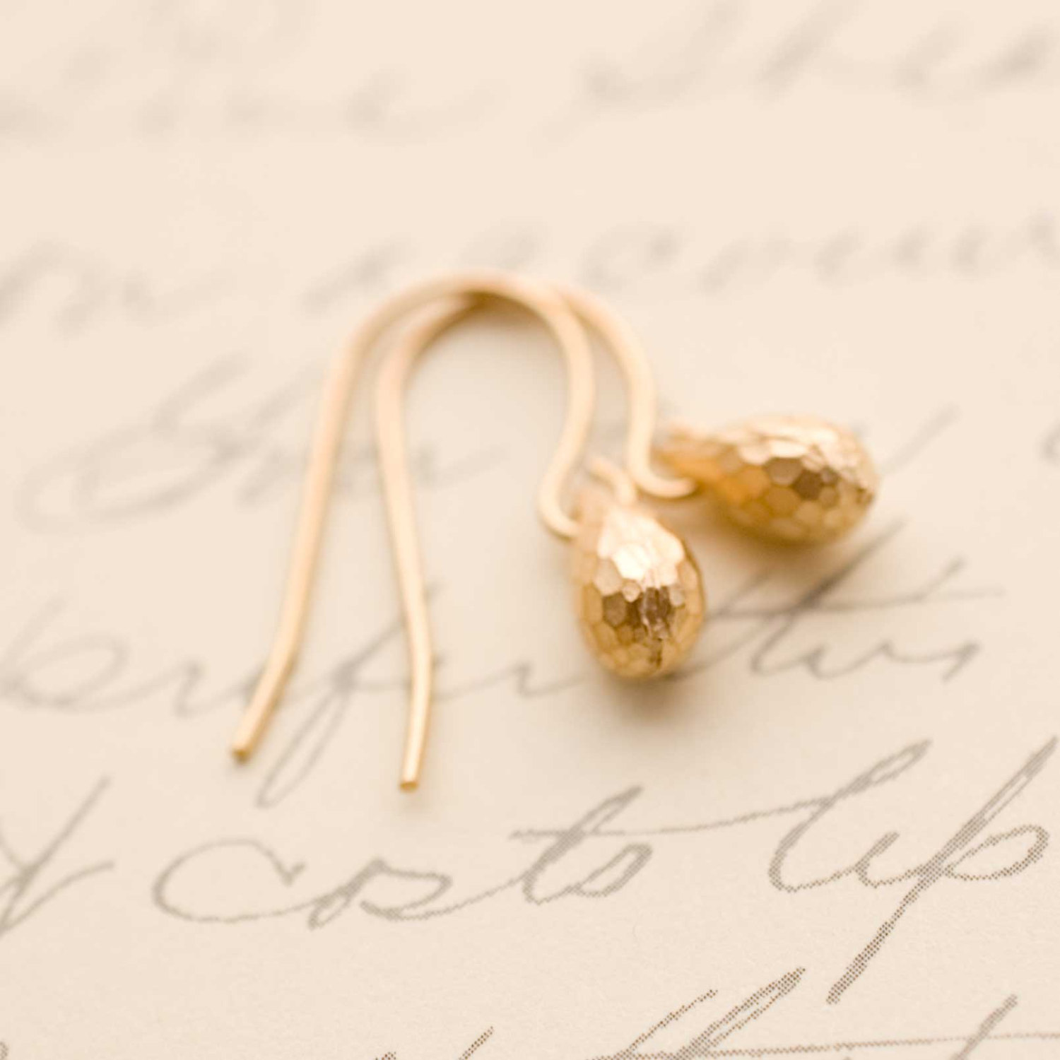 Gold Tear Drop Earrings Tiny Briolette Dangle Simple Modern Minimalist